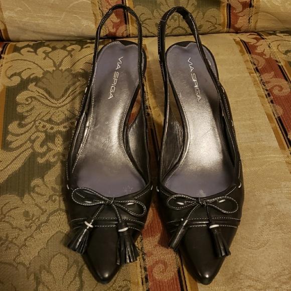 VIA SPIGA Ruslana Black Open Toe High Heels Strappy Sandals NEW Womens Sz 7.5